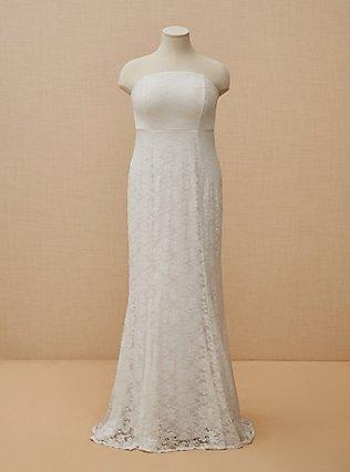 Plus Size White Lace Strapless Fit & Flare Wedding Dress, CLOUD DANCER, flat