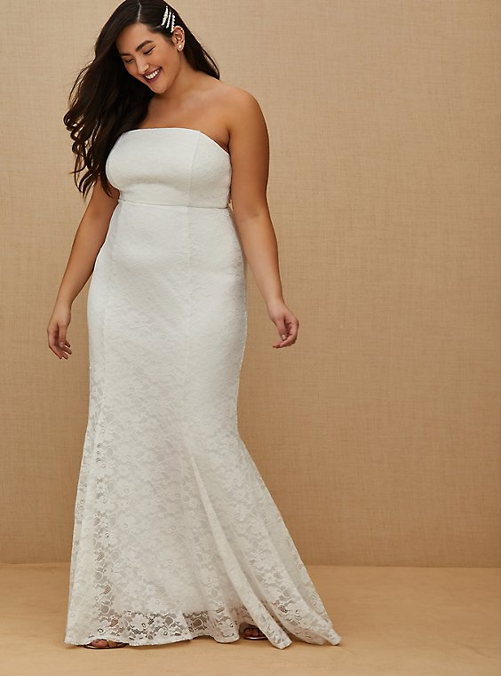 Plus Size White Lace Strapless Fit & Flare Wedding Dress, , hi-res