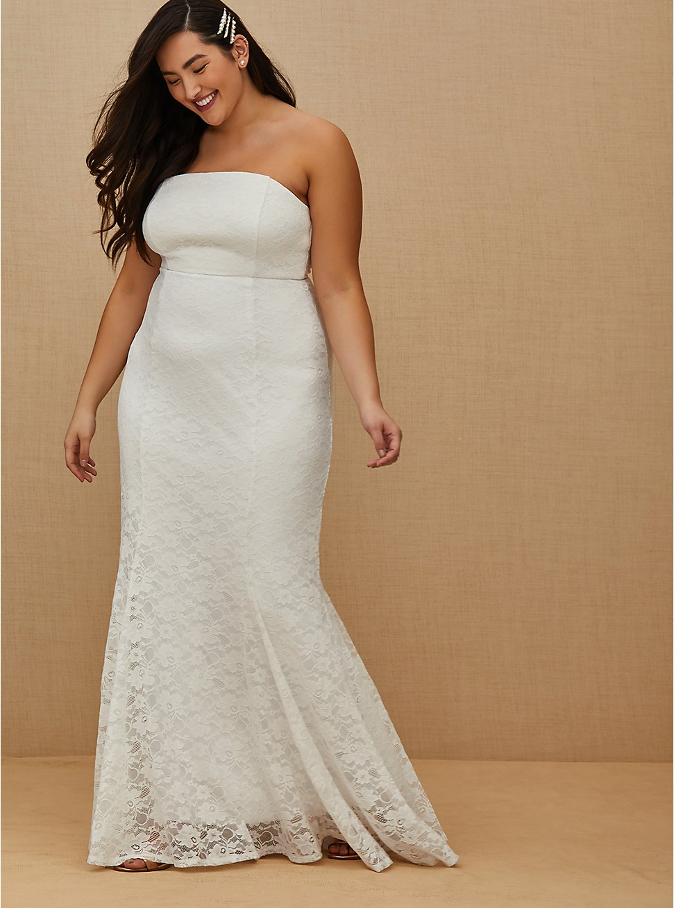 White Lace Strapless Fit & Flare Wedding Dress, , fitModel1-hires