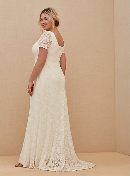 Ivory Lace Short Sleeve Fit & Flare Wedding Dress, BRIGHT WHITE, alternate