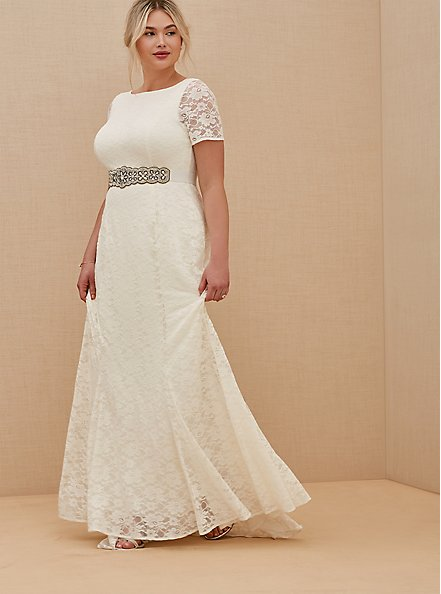 Ivory Lace Short Sleeve Fit & Flare Wedding Dress, BRIGHT WHITE, hi-res