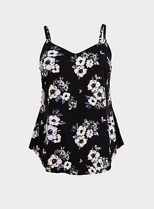 Essential Black Floral Stretch Challis Cami, MULTI, flat
