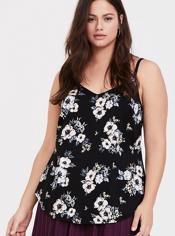 Essential Black Floral Stretch Challis Cami, , hi-res