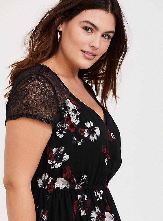 Black Skull Floral Chiffon & Lace Midi Dress, , hi-res