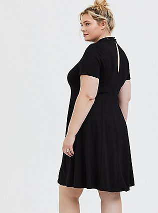 Plus Size Black Ponte Mock Neck Trapeze Dress, , alternate