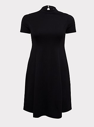 Plus Size Black Ponte Mock Neck Trapeze Dress, , flat