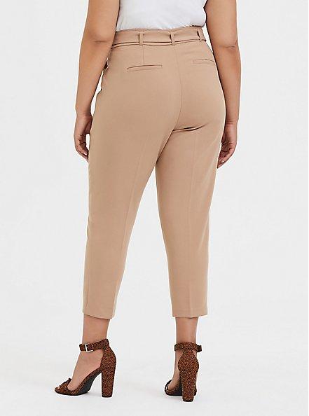 Belted Straight Leg Trouser Pant - Stretch Woven Beige, TAN/BEIGE, alternate
