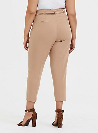 Stretch Woven Belted Straight Leg Trouser Pant - Tan, TAN/BEIGE, alternate