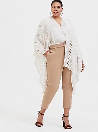 Plus Size Stretch Woven Belted Straight Leg Trouser Pant - Tan, TAN/BEIGE, alternate