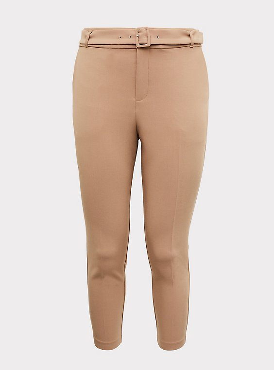 Stretch Woven Belted Straight Leg Trouser Pant - Tan, , flat