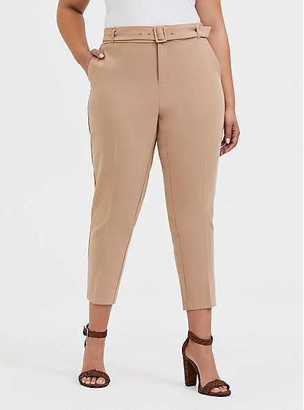 Belted Straight Leg Trouser Pant - Stretch Woven Beige, TAN/BEIGE, hi-res