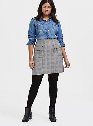 Black & White Houndstooth Plaid Premium Ponte Mini Skirt, PLAID - WHITE, alternate