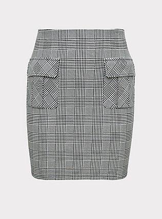 Black & White Houndstooth Plaid Premium Ponte Mini Skirt, PLAID - WHITE, flat