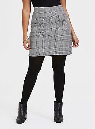 Black & White Houndstooth Plaid Premium Ponte Mini Skirt, PLAID - WHITE, hi-res