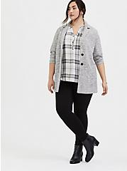 Harper - Ivory Plaid Twill Wash & Wear Pullover Blouse, PLAID - IVORY, alternate