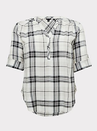 Harper - Ivory Plaid Twill Wash & Wear Pullover Blouse, PLAID - IVORY, flat