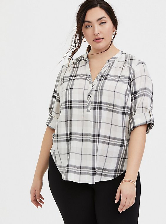 Harper - Ivory Plaid Twill Wash & Wear Pullover Blouse, , hi-res