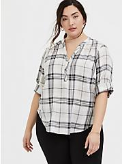 Harper - Ivory Plaid Twill Wash & Wear Pullover Blouse, PLAID - IVORY, hi-res