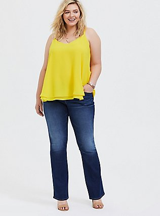 Plus Size Sophie - Lemon Yellow Double Layer Swing Cami, SULPHUR, alternate