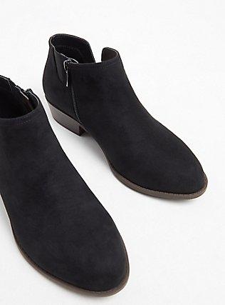 Black Faux Suede V-Cut Ankle Boot (WW), BLACK, alternate