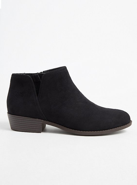 Black Faux Suede V-Cut Ankle Boot (WW), BLACK, hi-res