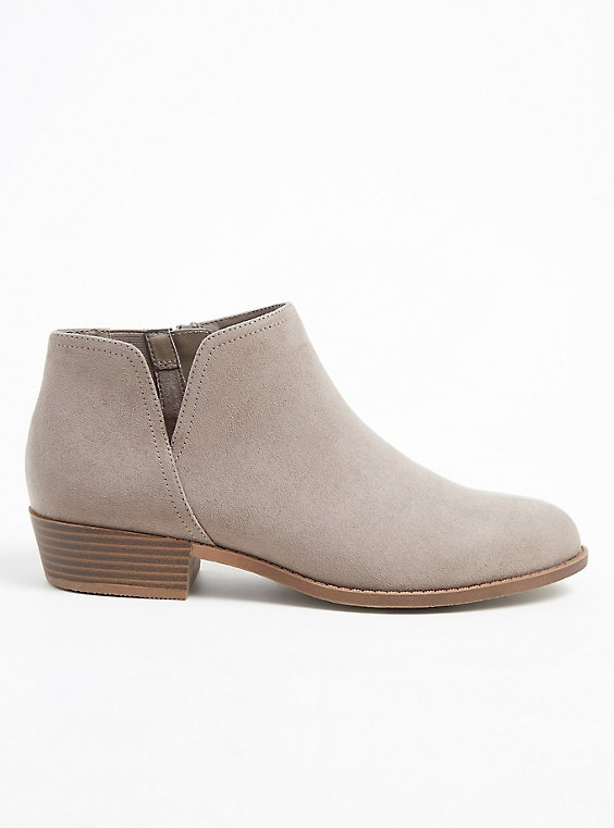 Taupe Faux Suede V-Cut Ankle Boot (WW), , hi-res