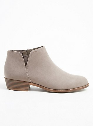 Plus Size Taupe Faux Suede V-Cut Ankle Boot (WW), TAN/BEIGE, hi-res