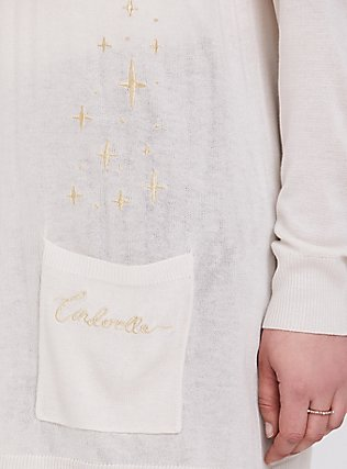 Plus Size Disney Cinderella Stars Ivory & Gold Embroidered Cardigan, OATMEAL HEATHER, alternate
