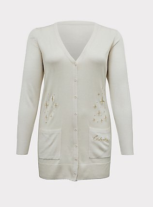 Plus Size Disney Cinderella Stars Ivory & Gold Embroidered Cardigan, OATMEAL HEATHER, flat