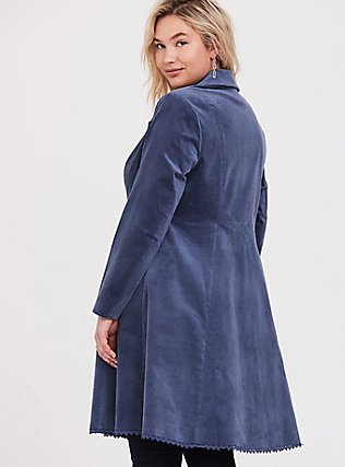 Disney Cinderella Embroidered Blue Velvet Fit & Flare Coat, BERING SEA, alternate