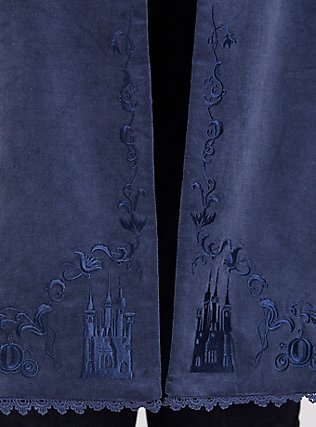Disney Cinderella Embroidered Blue Velvet Fit & Flare Coat, BERING SEA, alternate