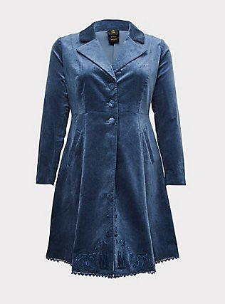 Disney Cinderella Embroidered Blue Velvet Fit & Flare Coat, BERING SEA, flat