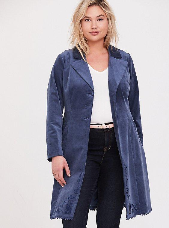 Plus Size Disney Cinderella Embroidered Blue Velvet Fit & Flare Coat, , hi-res
