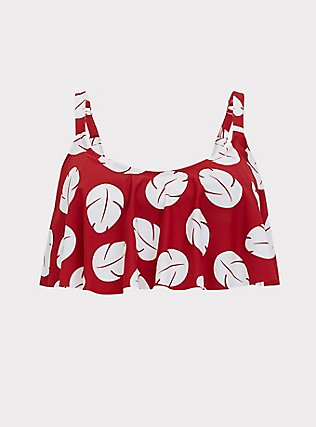 Disney Lilo & Stitch Red & White Leaf Wireless Flounce Bikini Top , MULTI, flat