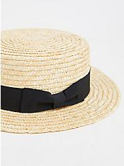 Plus Size Ivory Straw Contrast Band Boater Hat, NATURAL, alternate