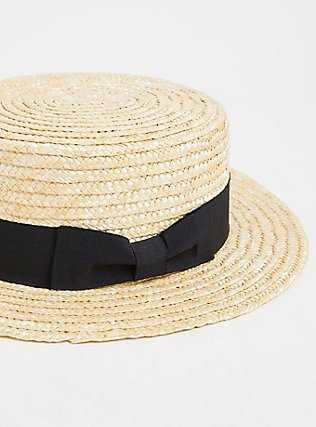 Ivory Straw Contrast Band Boater Hat, NATURAL, alternate