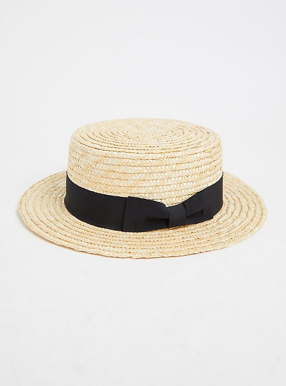Ivory Straw Contrast Band Boater Hat, NATURAL, hi-res