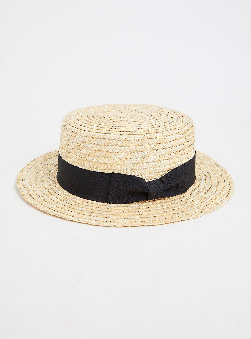Ivory Straw Contrast Band Boater Hat, NATURAL, hi-res