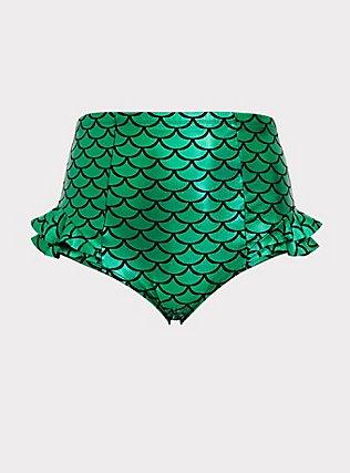 Disney The Little Mermaid Ariel Scale Green Ruffle Swim Bottom, MULTI, flat