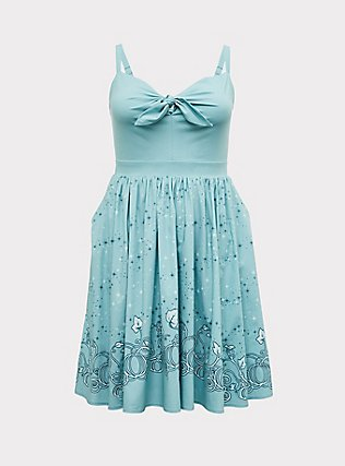 Plus Size Disney Cinderella Fairy Godmother Aqua Tie-Front Skater Dress, AQUA, flat
