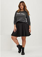 Black Scuba Knit Mini Skater Skirt, DEEP BLACK, alternate