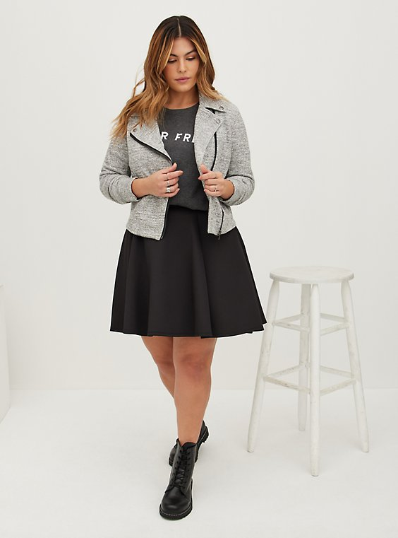 Black Scuba Knit Mini Skater Skirt, , hi-res