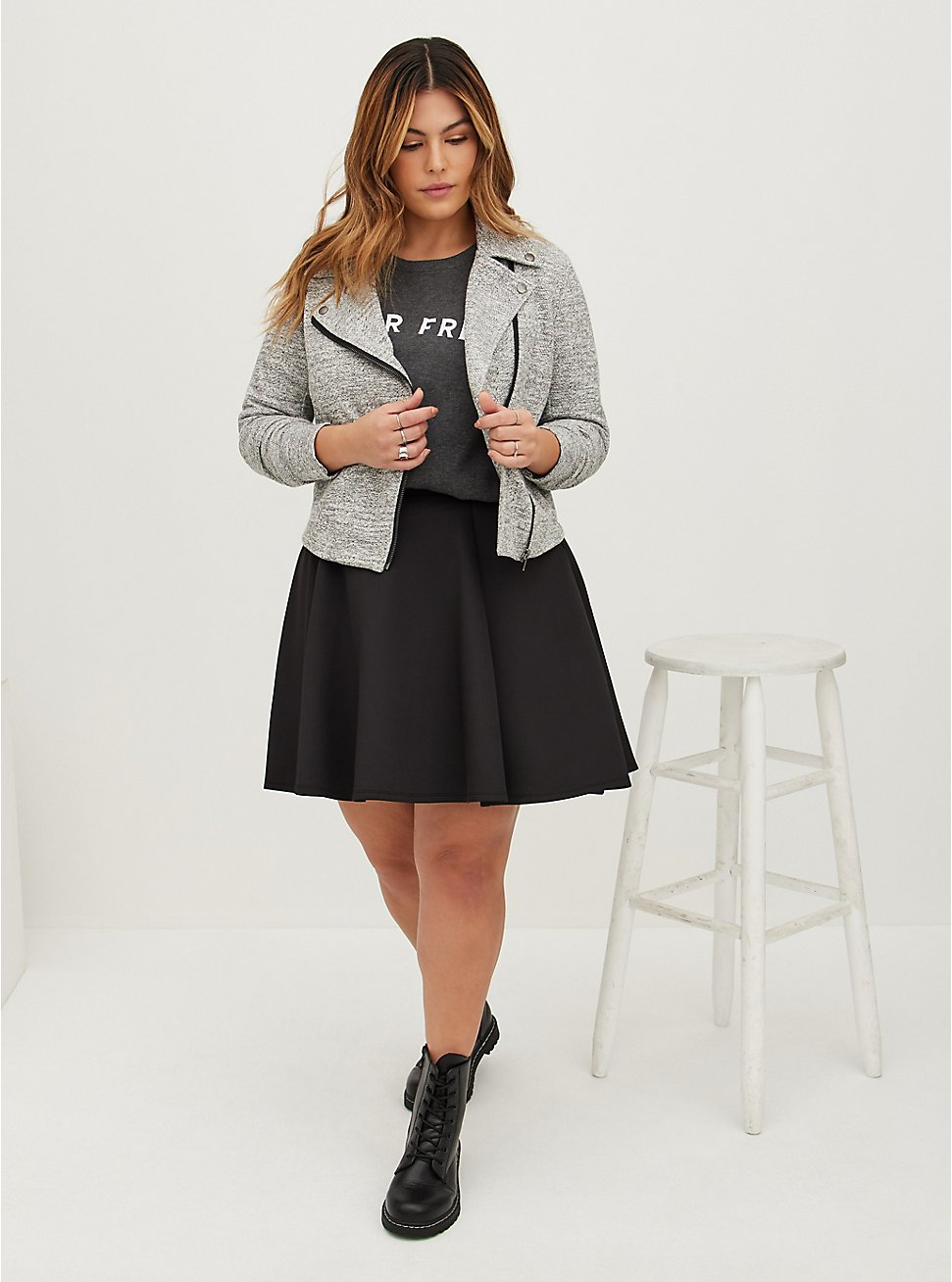 Black Scuba Knit Mini Skater Skirt, DEEP BLACK, hi-res