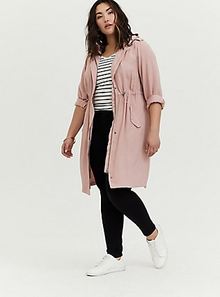 Blush Pink Twill Drawstring Anorak, PINK, alternate