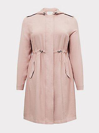 Blush Pink Twill Drawstring Anorak, PINK, flat