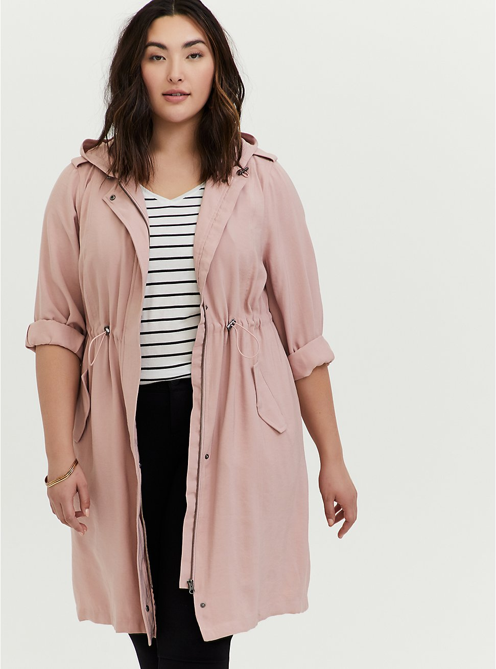 Plus Size Blush Pink Twill Drawstring Anorak, PINK, hi-res