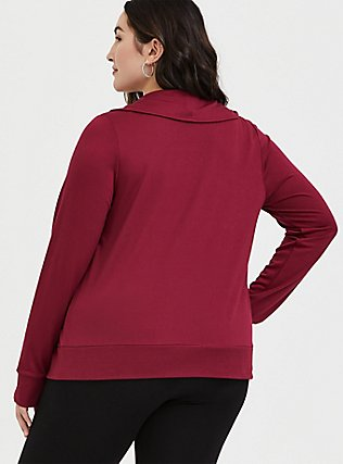 Red Wine Terry Open Front Jacket, BEET RED, alternate