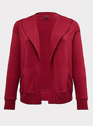 Red Wine Terry Open Front Jacket, BEET RED, flat