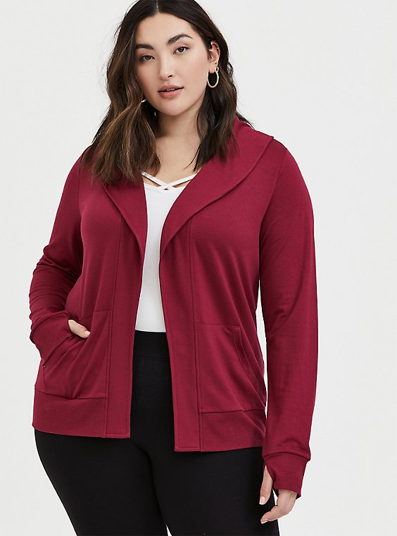Plus Size Red Wine Terry Open Front Jacket, , hi-res