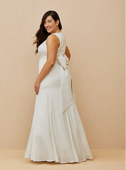 Ivory Satin Bow Back Mermaid Wedding Dress, CLOUD DANCER, alternate